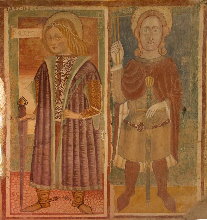 I Santi Adriano e Sebastiano. Affresco dell'Abside